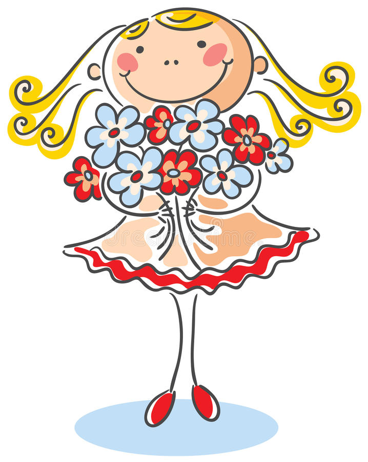 Girl with a bouquet of flowers vector illustration