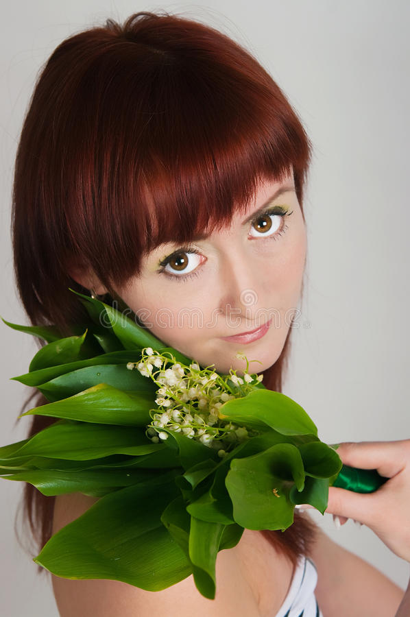 Download Girl With A Bouquet Of Lilies Of The Valley Stock Image - Image: 31226441