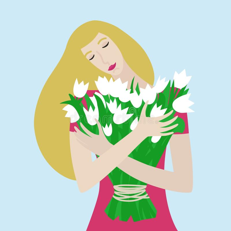 Girl with with bouquet of tulips. Vector cartoon illustration. stock photo