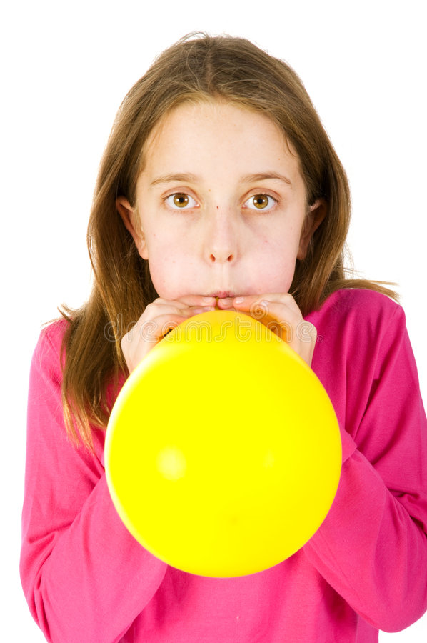 Download Girl bowing balloon stock photo. Image of breath, person - 7191574