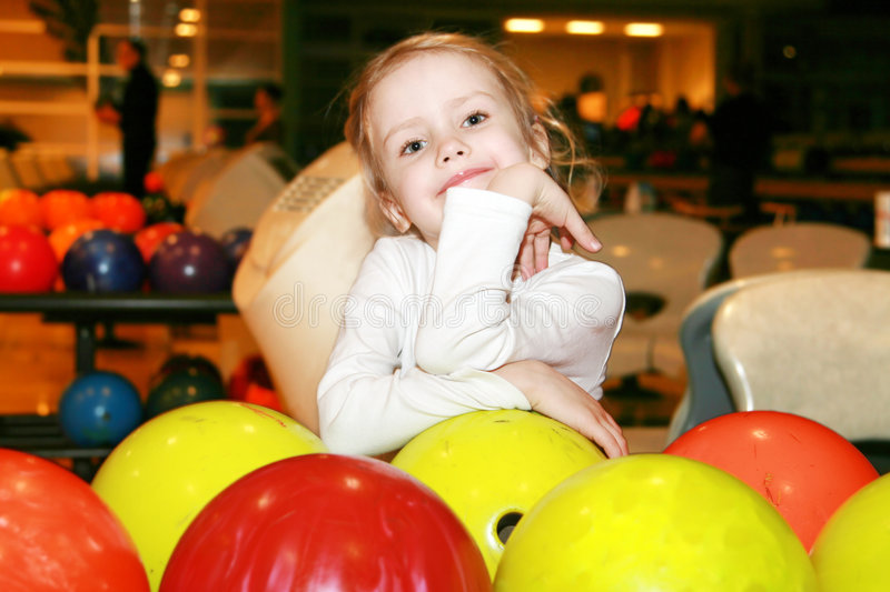 Girl in bowling royalty free stock photography