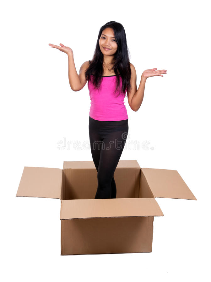 Download Girl in a box stock image. Image of cute, female, background - 29573341