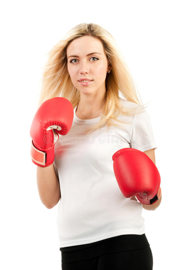Download Girl boxer in red gloves stock image. Image of fighter - 24858243