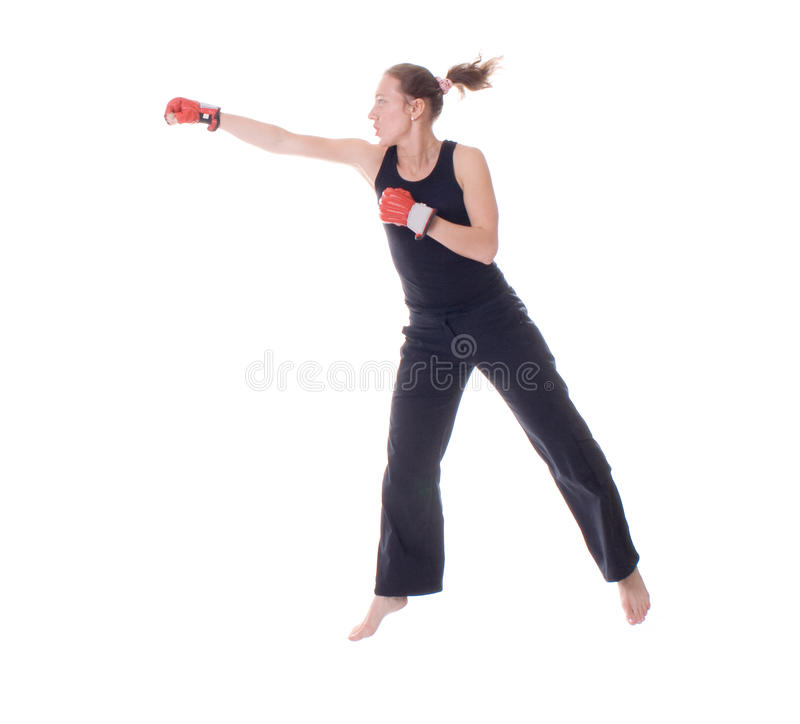Girl with boxing gloves. Beautiful girl with boxing gloves. Isolated royalty free stock photo