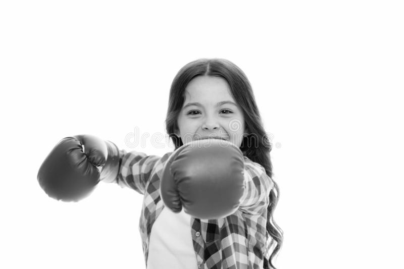 Girl boxing gloves ready to fight. Kid strong and independent girl. Feel powerful. Girls power concept. Feminist. Upbringing and female rights. Fight for her royalty free stock photos