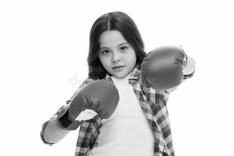 Girl boxing gloves ready to fight. Kid strong and independent girl. Feel strong and independent. Girls power concept. Upbringing confidence and strong royalty free stock image