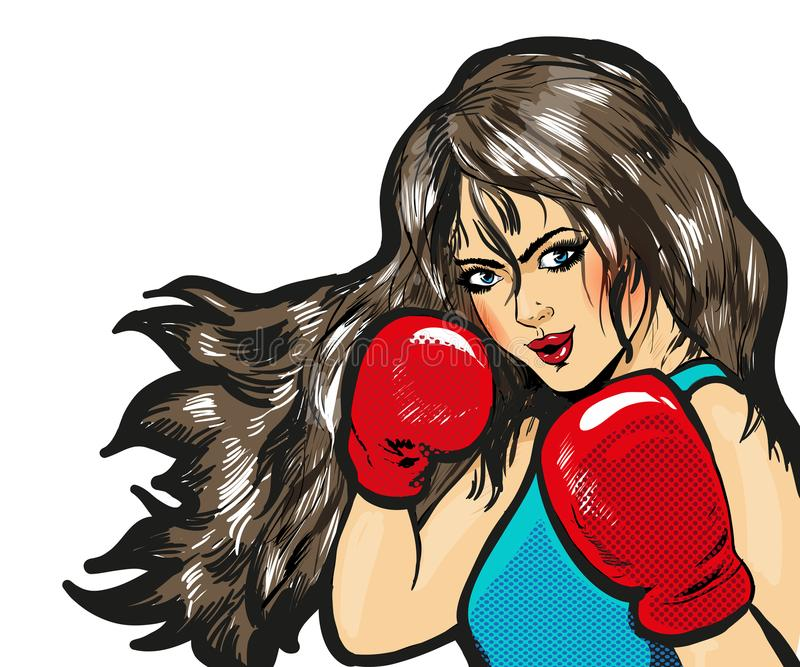 Girl boxing pop art comic stock vector. Isolated royalty free illustration