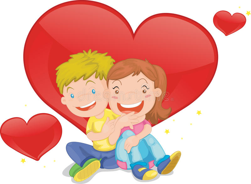 Girl and boy stock illustration