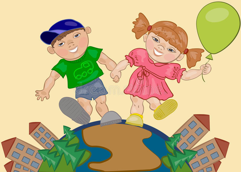 Download Girl and Boy stock vector. Illustration of city, playing - 25466406