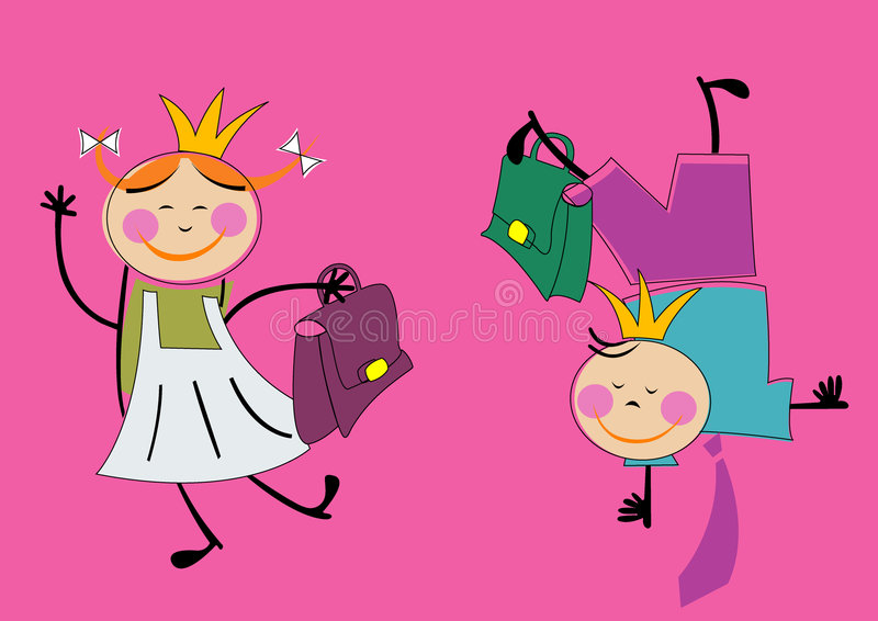 Girl and boy stock illustration