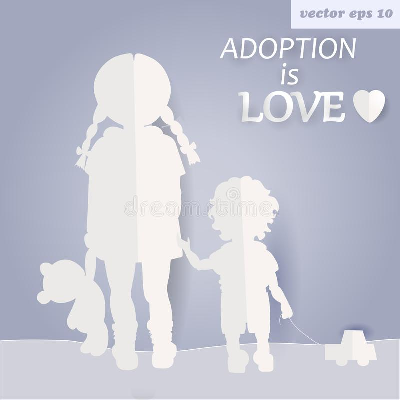 Children. Girl and boy. adoption. adopt a kid illustration. paper art and craft style. element for poster, billboard, print,etc royalty free illustration
