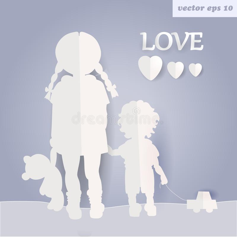 Children. Girl and boy. adoption. adopt a kid illustration. paper art and craft style. element for poster, billboard, print,etc vector illustration