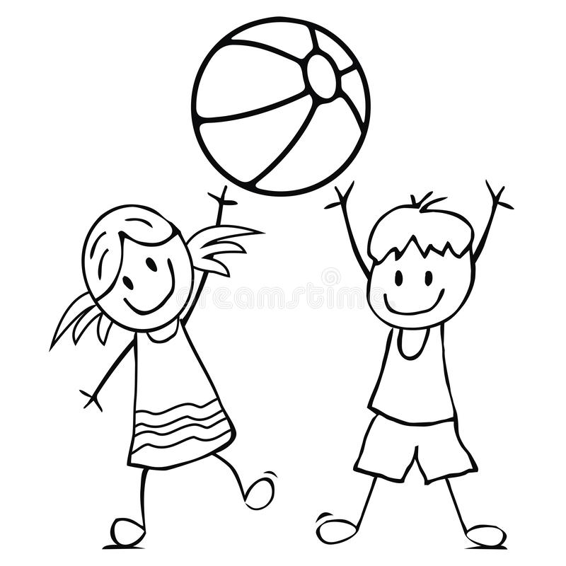 Girl and boy with ball, coloring page stock illustration