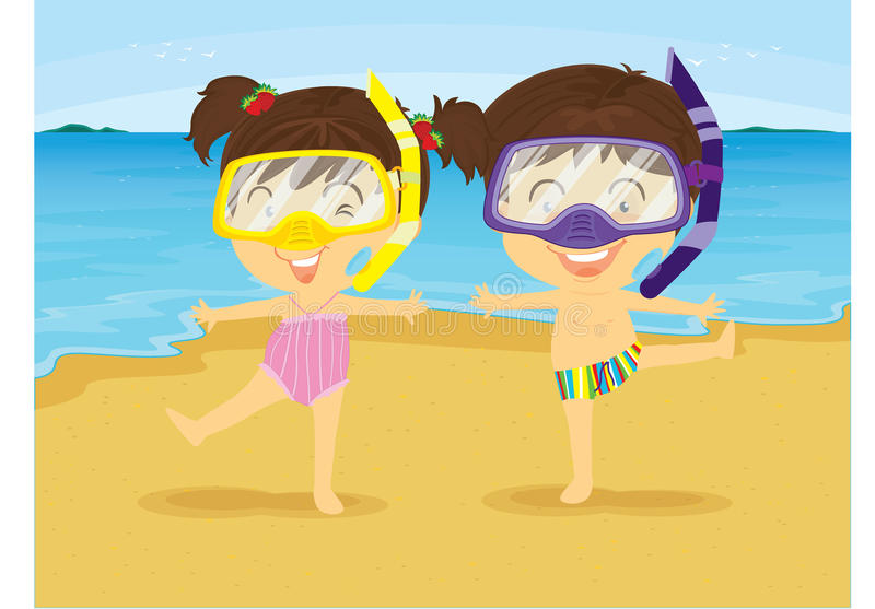 Girl and Boy Dancing on Beach vector illustration