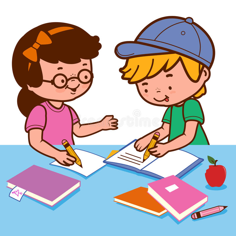 Girl and boy doing homework. Vector Illustration of a girl and a boy young students sitting on a desk and doing their homework. Desk is full of books and notes stock illustration
