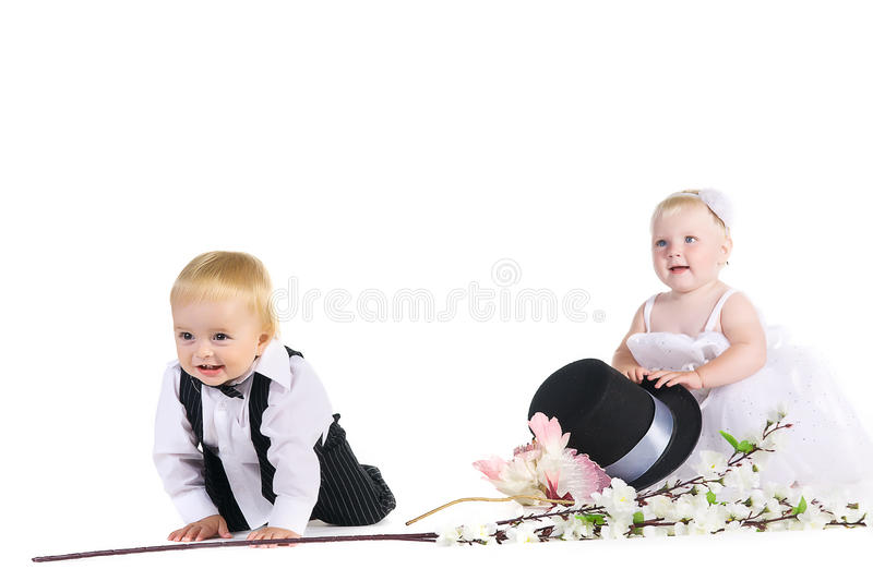 Download Girl And Boy In A Dress The Bride And Groom Stock Photo - Image: 23769048