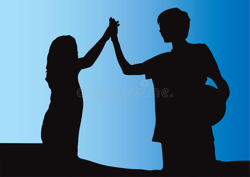 Girl and boy friendly high five vector illustration