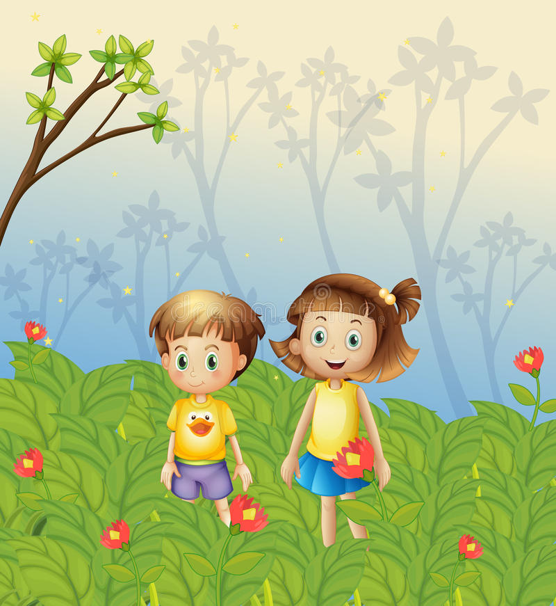 A girl and a boy in the garden royalty free illustration