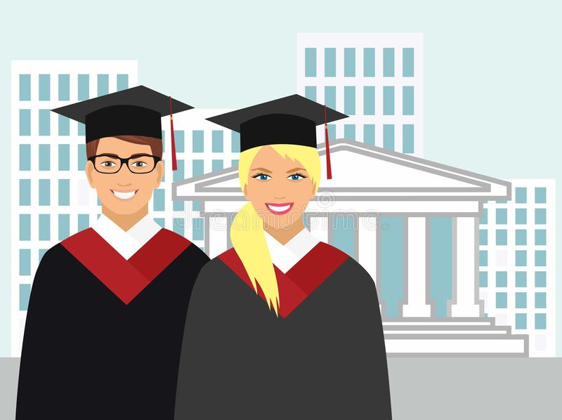 Girl and boy in gown graduate on the background of the university stock illustration