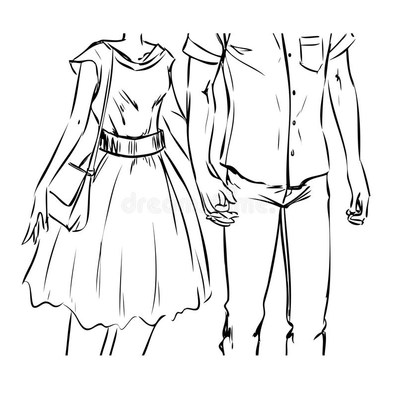 Couple Young Girl Boy Holding Hands Drawn Sketch Style Stock