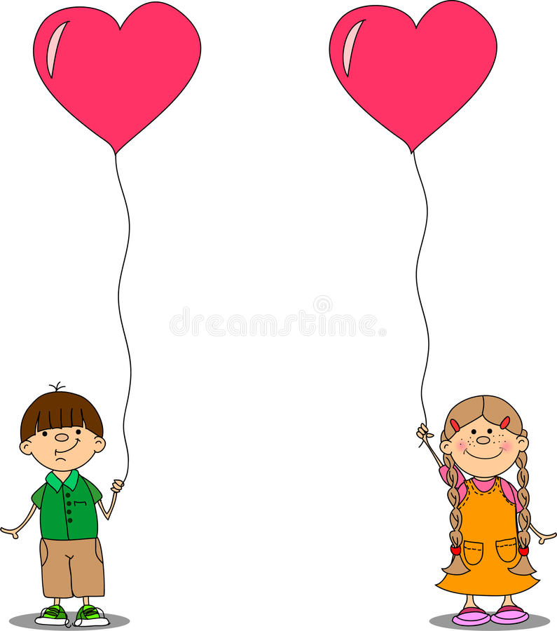 Girl And Boy Holding A Balloon Heart Vector Royalty Free Stock Image