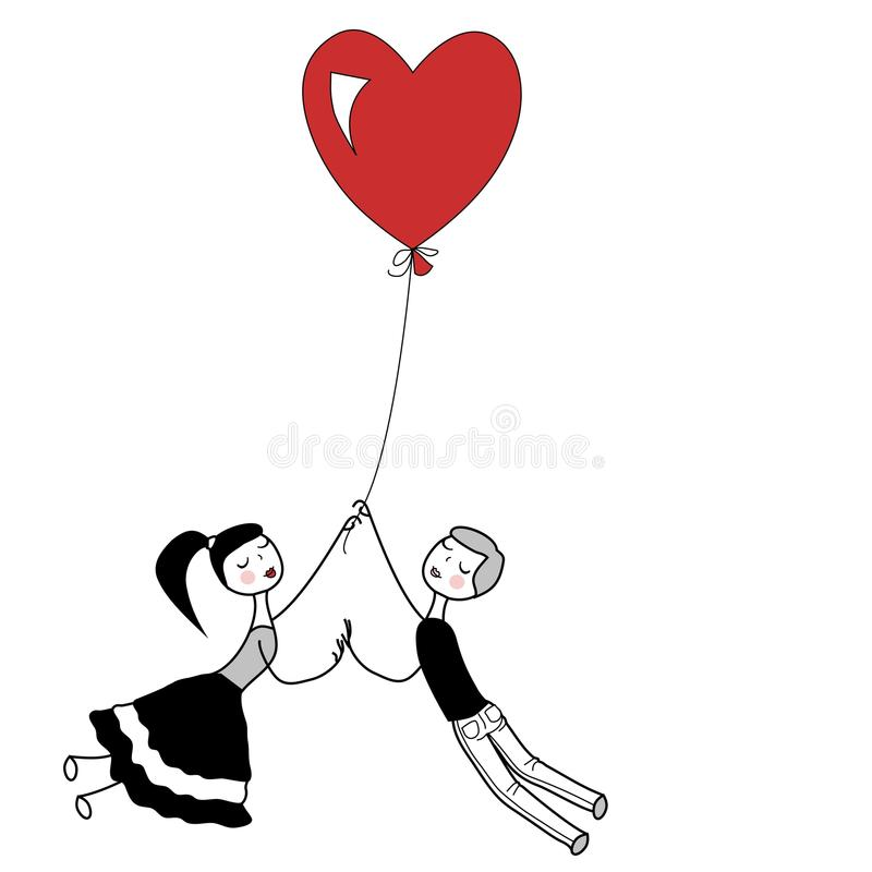 Girl and boy. Holding the string of flying red heart balloon royalty free illustration
