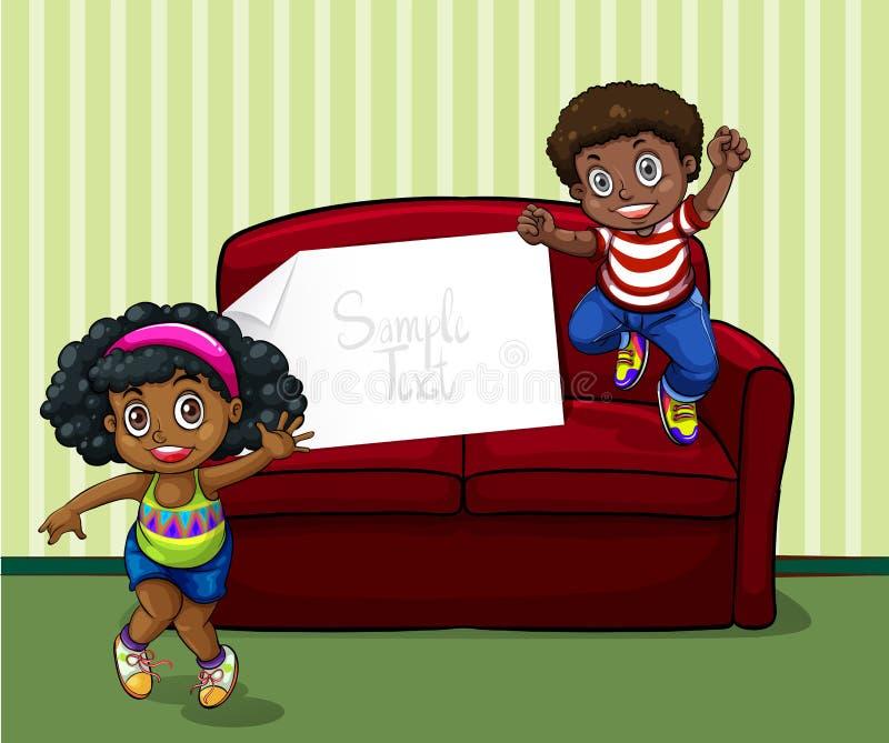 Girl and boy in living room. Illustration royalty free illustration