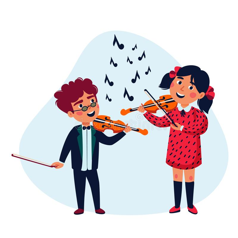 Girl and boy musicians. Happy children playing violins. Music school concert. Flat style vector illustration. vector illustration