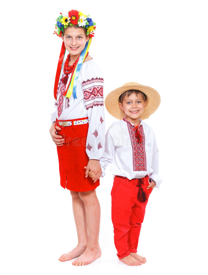 Girl and boy in the national Ukrainian costume. Girl in the national Ukrainian costume isolated white backgraund stock photography