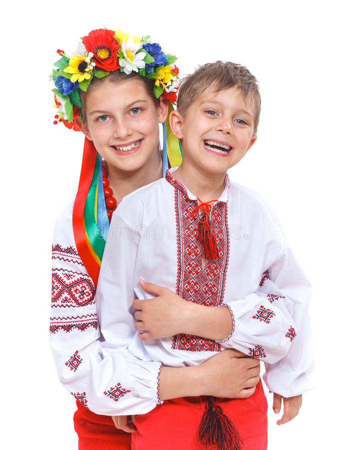 Girl and boy in the national Ukrainian costume. Girl in the national Ukrainian costume isolated white backgraund stock photos