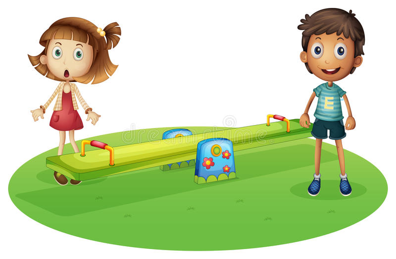 Download A Girl And A Boy Near The Seesaw Stock Vector - Image: 32330786