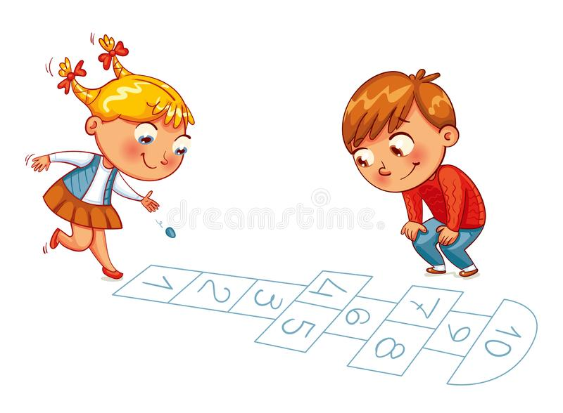 Girl and boy play in Hopscotch. Funny cartoon character. Vector illustration. Isolated on white background vector illustration