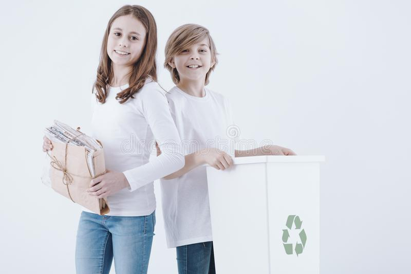 Girl and boy posing stock photography