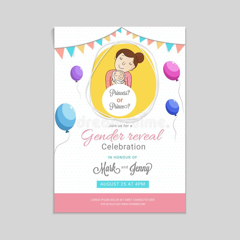 Girl or boy, question marks for a gender reveal party invitation vector illustration