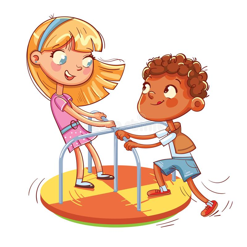 Girl and boy ride on small carousel. Amusement park. Girl and boy ride on small carousel in recreation park. Place for children`s games. Amusement park. Funny stock illustration