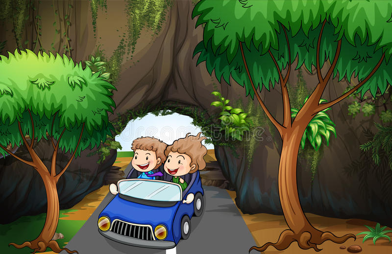 A girl and a boy riding in a car passing the cave vector illustration