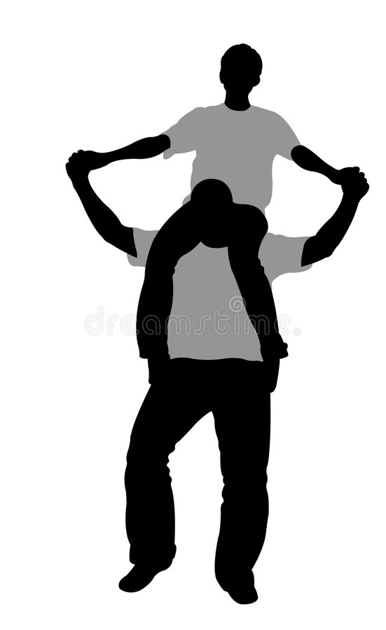 Girl on boy's shoulders. Vector royalty free illustration