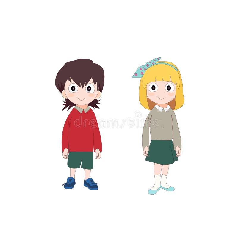 Girl and boy in school uniform, cute cartoon kids. Vector illustration royalty free illustration