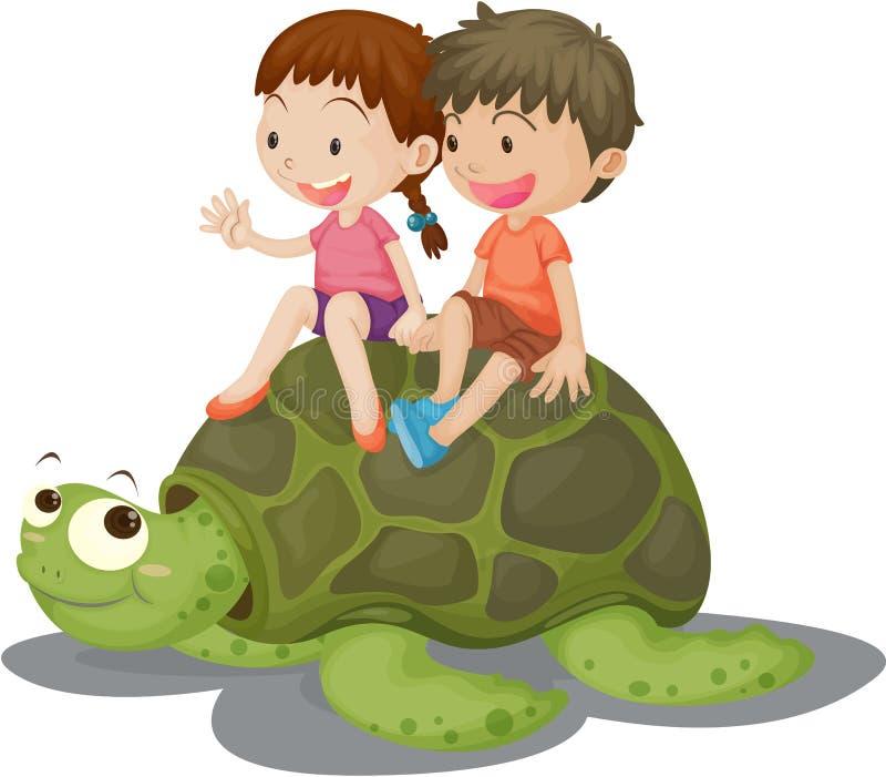 Girl and Boy Sitting on Tortoise stock illustration