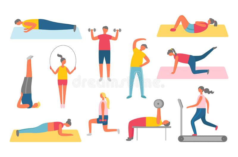 Pumping Muscles or Stretching, Lifestyle Vector stock illustration