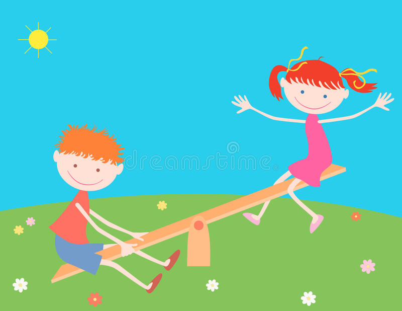 Girl and boy on a swing vector illustration