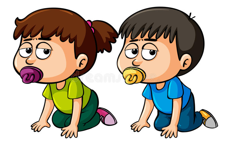 Girl and boy toddler crawling. Illustration stock illustration