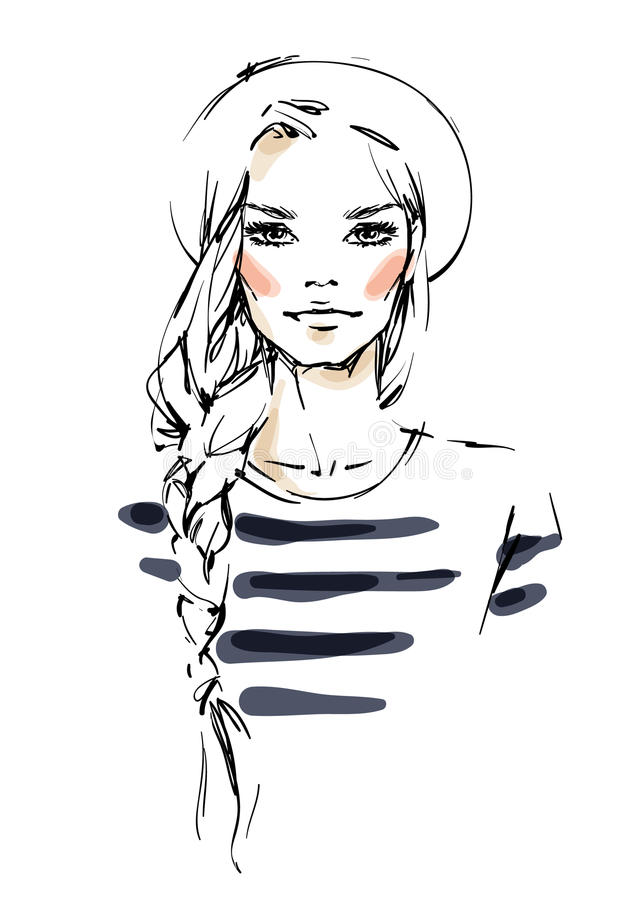 Girl with a braid vector illustration