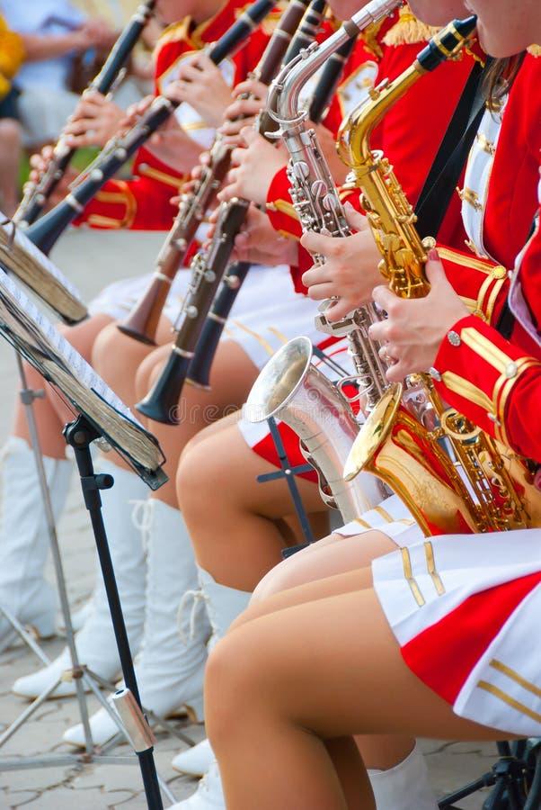 Download Girl Brass Band stock image. Image of golden, horn, musician - 14998769