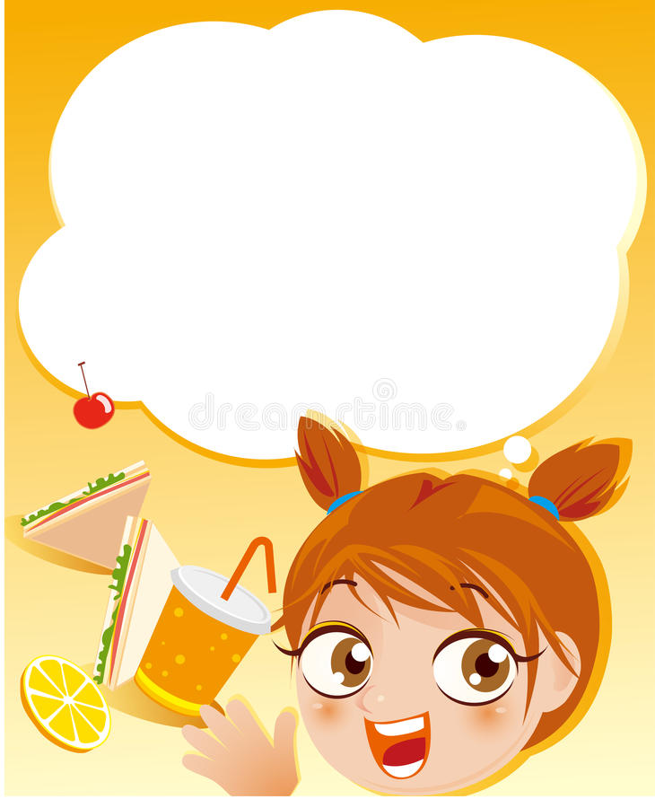 Download Girl and breakfast frame stock vector. Illustration of school - 19139010