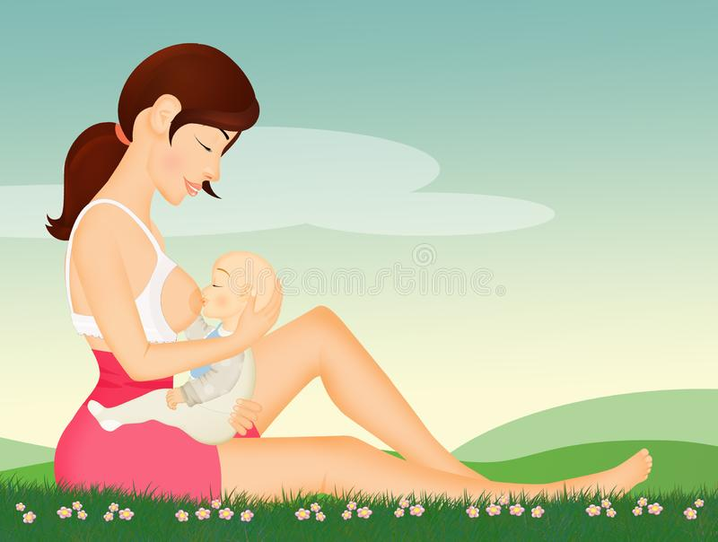 Girl breastfeeds her baby royalty free illustration