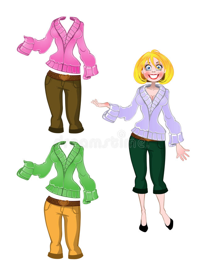 Girl in breeches and warm sweater varicolored vector illustration