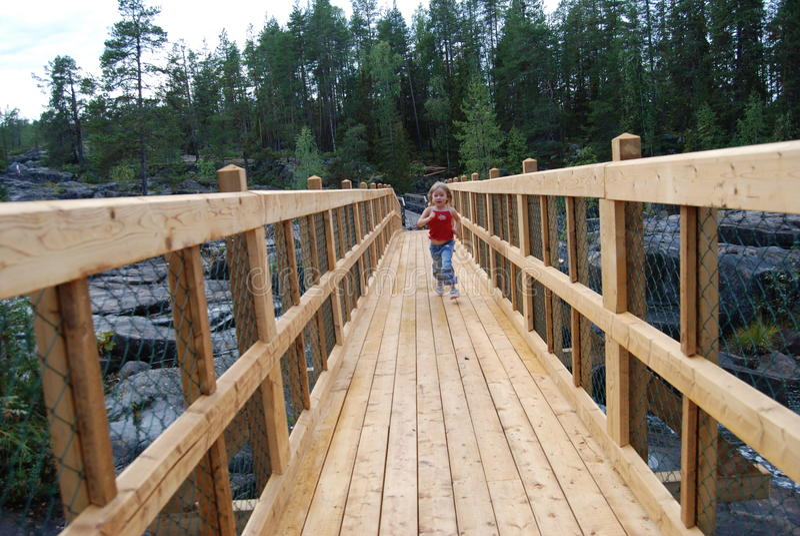 Download Girl on bridge stock image. Image of season, female, playing - 10837903