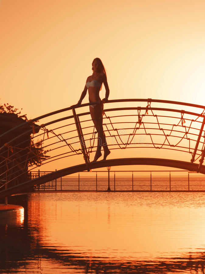 Girl On The Bridge Stock Images