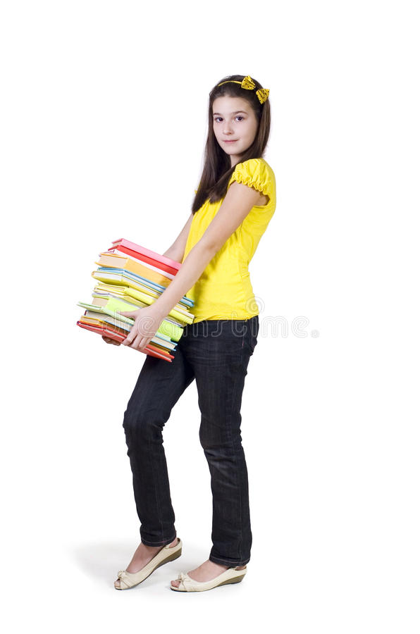 Girl with a briefcase and books stock photography